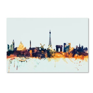 Michael Tompsett 'Paris France Skyline Blue' Canvas Art
