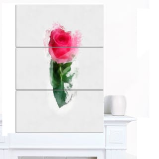 Designart 'Beautiful Rose with Leaves Drawing' Floral Canvas Artwork Print