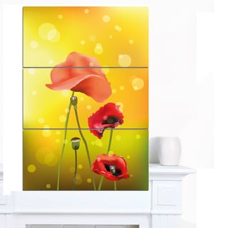 Designart 'Red Flowers on Yellow Background' Floral Canvas Artwork Print
