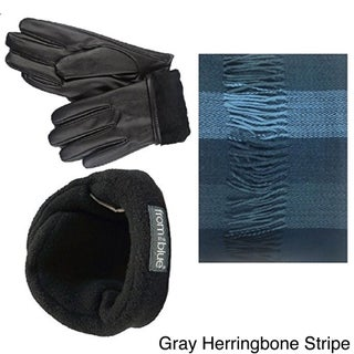 100 Love Men's Grey Rayon Fur-lined Gloves, Soft Scarf, and Adjustable Ear Warmer Set (More options available)
