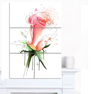 Designart 'Pink Rose Sketch with Green Calyx' Floral Canvas Artwork Print