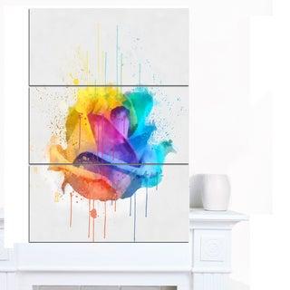 Designart 'Multicolor Rose with Color Splashes' Floral Canvas Artwork Print