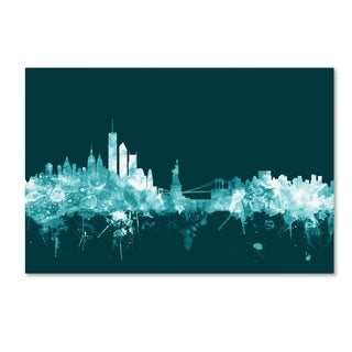 Michael Tompsett 'New York Skyline Teal' Canvas Art