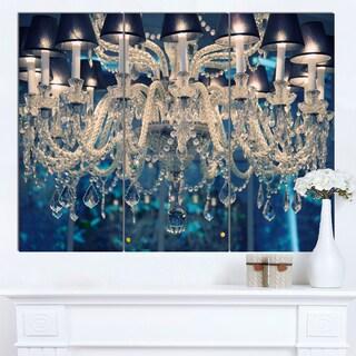 Designart 'Blue Vintage Crystal Chandelier' Flower Artwork on Canvas - Blue