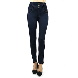 Indero High Waist Button Knit Spandex and Polyester Denim Jeggings