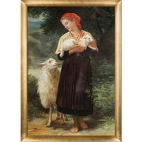 William-Adolphe Bouguereau 'The Shepherdess, 1873' Hand Painted Framed Oil Reproduction on Canvas