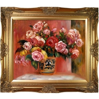 Pierre-Auguste Renoir 'Roses in a Vase, 1914' Hand Painted Framed Oil Reproduction on Canvas