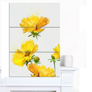 Designart 'Beautiful Yellow Flowers on White' Extra Large Floral Canvas Art