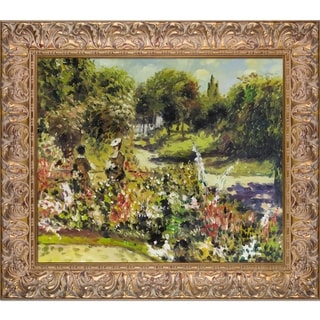 Pierre-Auguste Renoir 'The Garden at Fontenay, 1874' Hand Painted Framed Oil Reproduction on Canvas