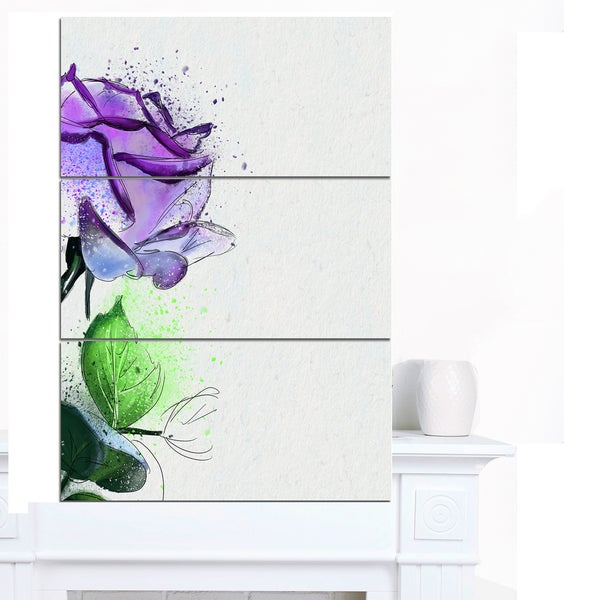 Designart 'Beautiful Blue Rose with Leaves' Extra Large Floral Canvas Art
