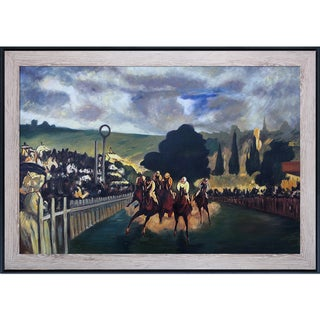 Edouard Manet 'Racing at Longchamp, 1864' Hand Painted Framed Oil Reproduction on Canvas