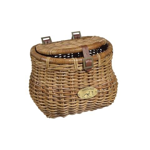 Nantucket Bicycle Basket Co. Cisco Madaket Brown Rattan Creel Basket with Lid