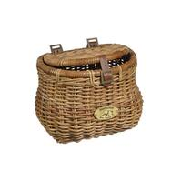 Nantucket Bicycle Basket Co. Cisco Madaket Brown Rattan Creel Basket with Lid
