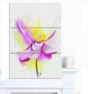 Designart 'Beautiful Purple Flower with Yellow' Flowers Canvas Wall Artwork