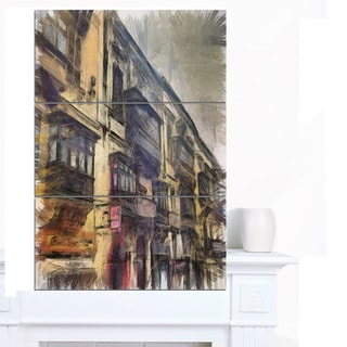 Designart 'Old City Street Watercolor Painting' Large Cityscape Artwork on Canvas