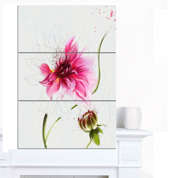 Designart 'Pink Flower with Stem and Bud' Extra Large Floral Canvas Art - Pink