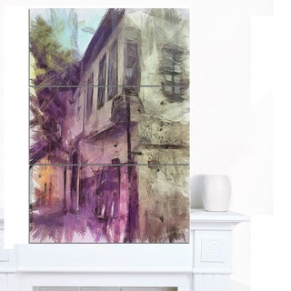 Designart 'Old City Street Watercolor Sketch' Large Cityscape Artwork on Canvas