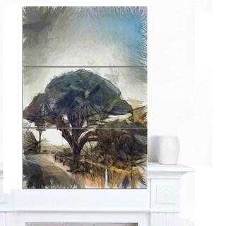 Designart 'Lonely Oak Tree Watercolor Sketch' Large Landscape Canvas Art