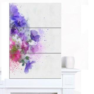 Designart 'Little Purple Flowers Hand-drawn' Flowers Canvas Wall Artwork