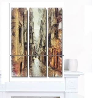 Designart 'Path in Street Watercolor Stretch' Large Cityscape Artwork on Canvas