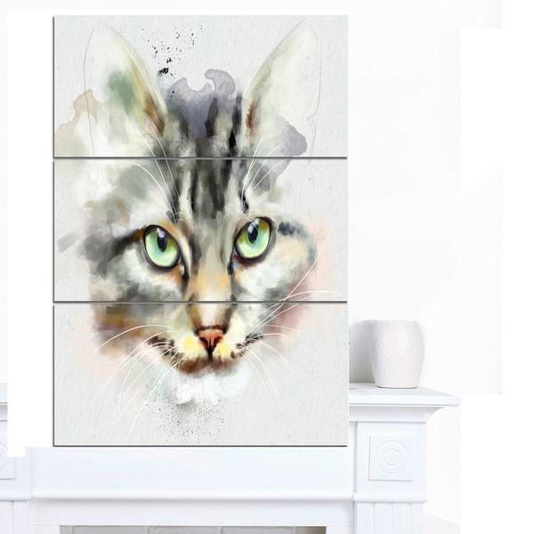 Designart 'Cute Kitten Watercolor Hand-drawn' Large Animal Canvas Artwork - multi