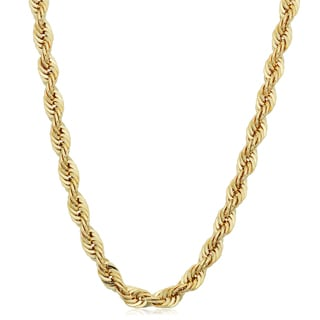 Fremada Men's 10k Yellow Gold 4.75-mm Semi Solid Rope Chain Necklace (20 - 30 inches)