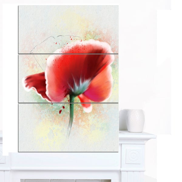 Designart 'Beautiful Red Watercolor Poppy' Flowers Canvas Wall Artwork