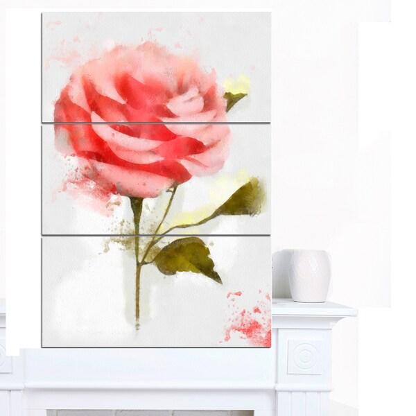 Shop Designart \'Cute Pink Watercolor Rose Sketch\' Flowers Canvas ...