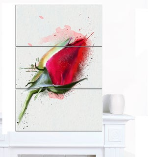 Designart 'Red Rose Bud Watercolor Sketch' Flowers Canvas Wall Artwork