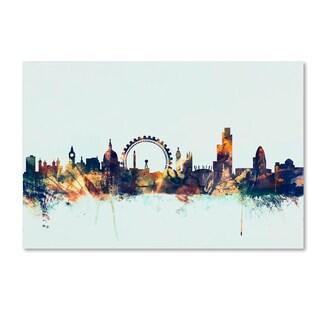 Michael Tompsett 'London England Skyline Blue 2' Canvas Art