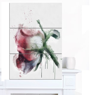 Designart 'Budding Pink Rose Watercolor Sketch' Flowers Canvas Wall Artwork