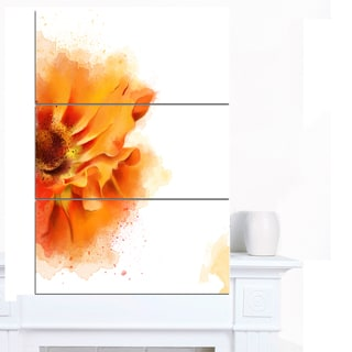 Designart 'Beautiful Yellow Flower Watercolor' Flowers Canvas Wall Artwork