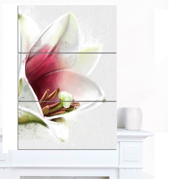 Designart 'Beautiful Lily Flower Watercolor' Flowers Canvas Wall Artwork - White