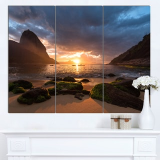 Designart 'Beautiful Sunrise in Red Seashore' Large Beach Canvas Wall Art