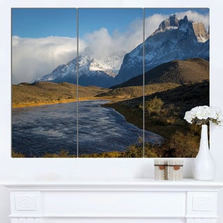 Designart 'Beautiful View of Torres del Paine' Large Beach Canvas Wall Art