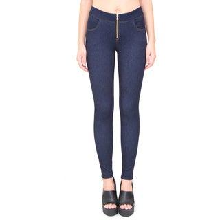 Indero Women's Knit Denim Zip Front Jeggings