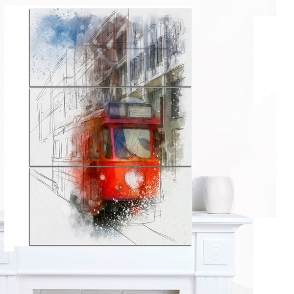 Designart 'Red Trolley Car Watercolor Sketch' Large Cityscape Artwork on Canvas - Red