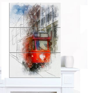Designart 'Red Trolley Car Watercolor Sketch' Large Cityscape Artwork on Canvas