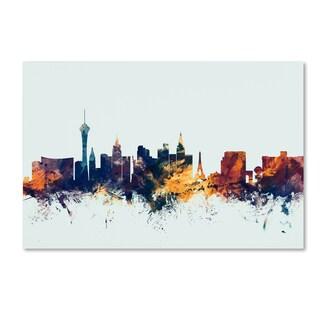 Michael Tompsett 'Las Vegas Nevada Skyline Blue' Canvas Art