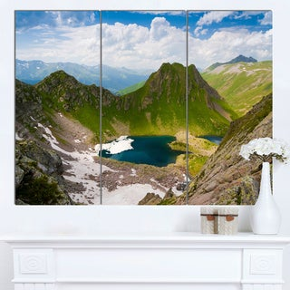 Designart 'Mountain Lake View on Bright Day' Large Landscape Canvas Art