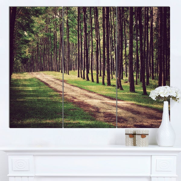 Designart 'Vintage Style Forest with Pathway' Modern Forest Canvas Art - multi