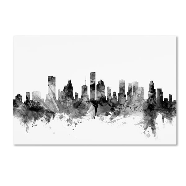 Michael Tompsett 'Houston Texas Skyline B&W' Canvas Art