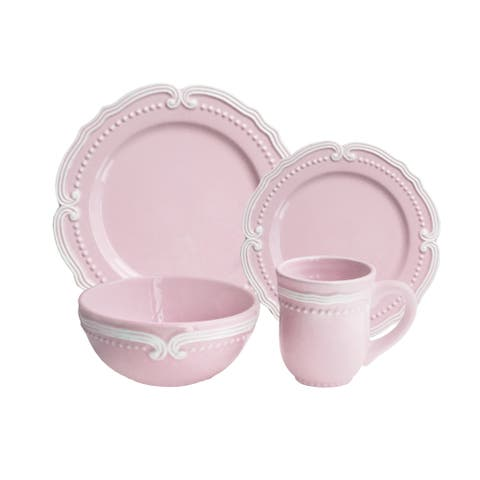 American Atelier Victoria Blue/Pink Earthenware 16-piece Dinnerware Set
