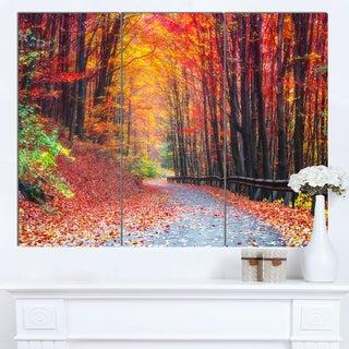 Designart 'Road in Beautiful Autumn Forest' Modern Forest Canvas Art