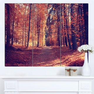 Designart 'Thick Woods in Colorful Fall Forest' Modern Forest Canvas Art