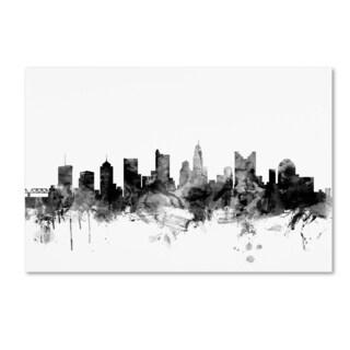 Michael Tompsett 'Columbus Ohio Skyline B&W' Canvas Art