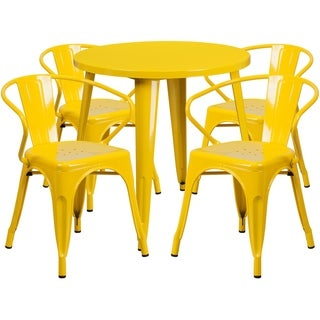 30 Round Metal Indoor-Outdoor Table Set with 4 Arm Chairs (Yellow)