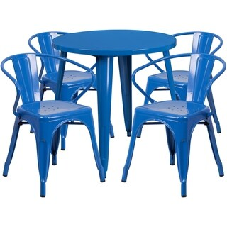 30 Round Metal Indoor-Outdoor Table Set with 4 Arm Chairs (Blue)