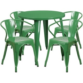 30 Round Metal Indoor-Outdoor Table Set with 4 Arm Chairs (Green)