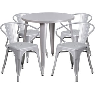 30 Round Metal Indoor-Outdoor Table Set with 4 Arm Chairs (Silver)